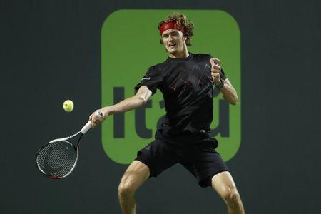 Mar 29, 2018; Key Biscayne, FL, USA; Alexander Zverev of Germany hits a forehand against Borna Coric of Croatia (not pictured) on day ten of the Miami Open at Tennis Center at Crandon Park.  Mandatory Credit: Geoff Burke-USA TODAY Sports
