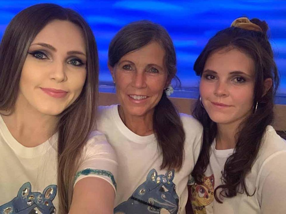 Jane and daughters in front of stage at Mamma Mia in September 2021 (Collect/PA Real Life).