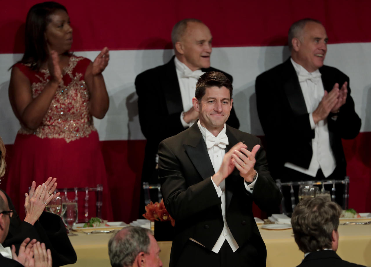 <p> Speaker of the House Paul Ryan applauds as attendees to the 72nd Annual Alfred E. Smith Memorial Foundation dinner are announced Thursday, Oct. 19, 2017, in New York. (AP Photo/Julie Jacobson) </p>