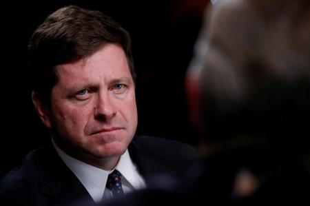 FILE PHOTO: Jay Clayton, Chairman of the Securities and Exchange Commission, listens during an interview with CNBC at the Sandler O'Neill + Partners Global Exchange and Brokerage Conference in New York