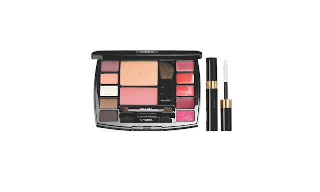 "<p>Travel makeup palette, $95, <a href=""https://www.chanel.com/en_US/fragrance-beauty/makeup-blush-travel-makeup-palette-139861"" rel=""nofollow noopener"" target=""_blank"" data-ylk=""slk:chanel.com"" class=""link rapid-noclick-resp"">chanel.com</a> </p>"
