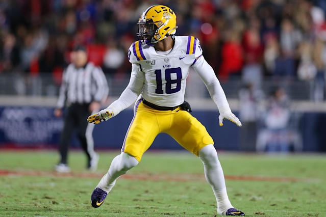LSU edge rusher K'Lavon Chaisson in action against Ole Miss in Oxford, Mississippi. (Photo by Jonathan Bachman/Getty Images)