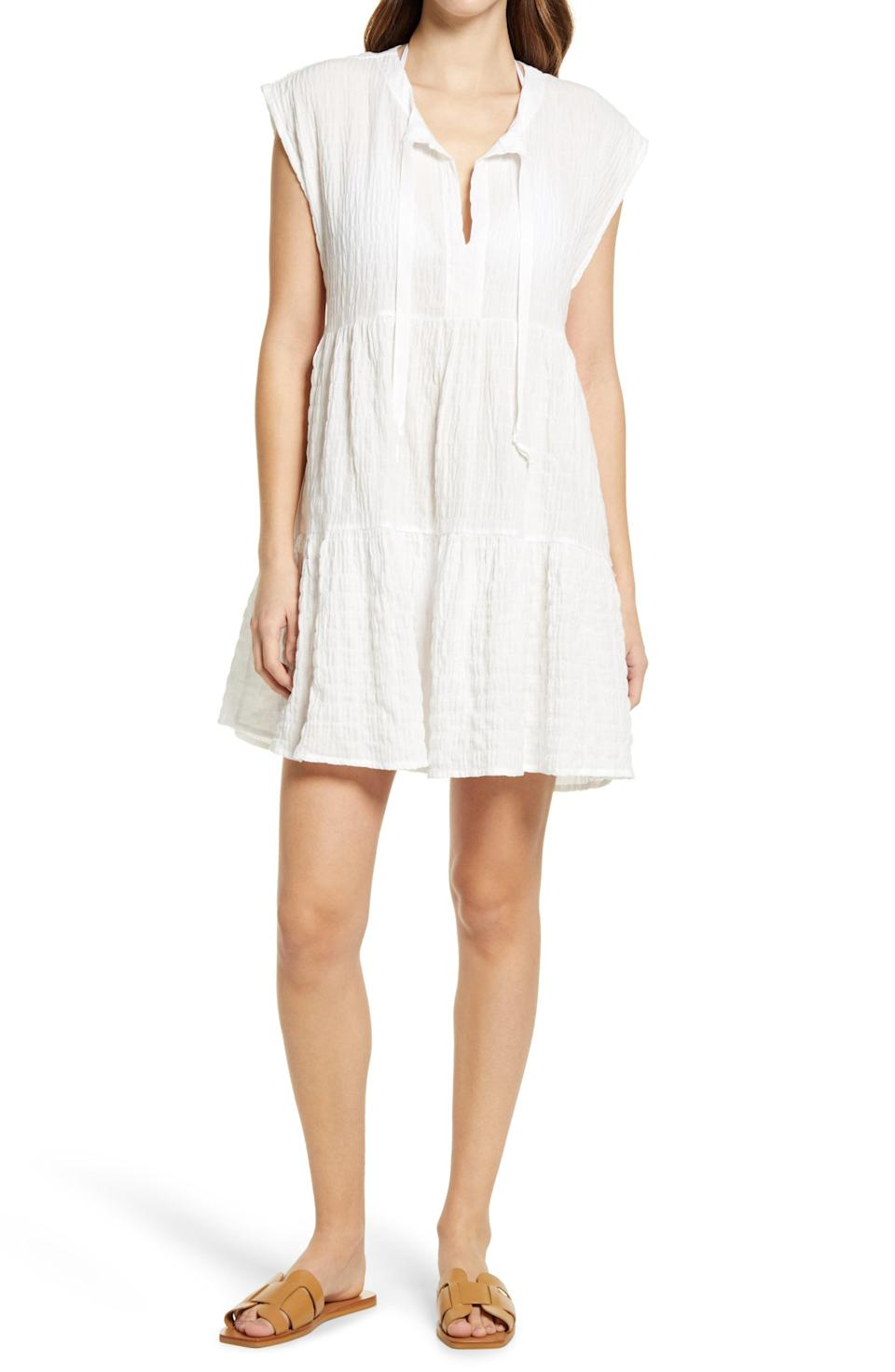"""<p><strong>Robin Piccone </strong></p><p>nordstrom.com</p><p><strong>$108.00</strong></p><p><a href=""""https://go.redirectingat.com?id=74968X1596630&url=https%3A%2F%2Fwww.nordstrom.com%2Fs%2Frobin-piccone-fiona-flouncy-cover-up-dress%2F5801965&sref=https%3A%2F%2Fwww.townandcountrymag.com%2Fstyle%2Ffashion-trends%2Fg27681571%2Fbest-beach-coverups%2F"""" rel=""""nofollow noopener"""" target=""""_blank"""" data-ylk=""""slk:Shop Now"""" class=""""link rapid-noclick-resp"""">Shop Now</a></p><p>For a flouncy coverup that could pass as a sundress, this lightweight and tiered number from Robin Piccone simply will not fail.</p><p><strong>MORE</strong>: <a href=""""https://www.townandcountrymag.com/style/fashion-trends/g36342991/best-white-dresses/"""" rel=""""nofollow noopener"""" target=""""_blank"""" data-ylk=""""slk:Best White Dresses for Summer"""" class=""""link rapid-noclick-resp"""">Best White Dresses for Summer </a></p>"""