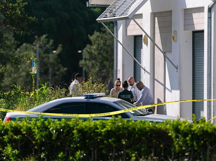 Police work a crime scene near Southwest 127th Avenue and Southwest 280th Street in Homestead, Florida on Monday, June 7, 2021. Three people were killed and three others were injured in a murder-suicide at the Verde Gardens apartment complex near the Homestead Air Reserve Base, police said.