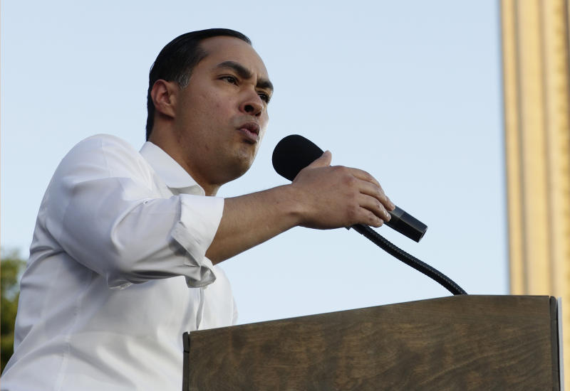 FILE - In this April 10, 2019, file photo, Democratic presidential candidate Julian Castro speaks during a rally in San Antonio. Castro returns to Texas this week lagging in polls and money raised in a crowded 2020 field. Castro will join many of his 2020 rivals in Houston on Wednesday for a candidate forum. (AP Photo/Eric Gay, File)