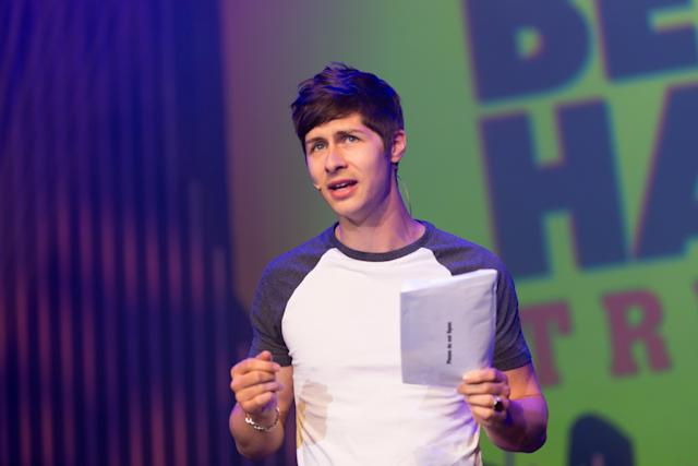 Ben Hanlin performs 'Trickhead' on stage during Pleasance Programme Launch for the Edinburgh Festival Fringe at Pleasance Grand (Roberto Ricciuti/Getty Images)