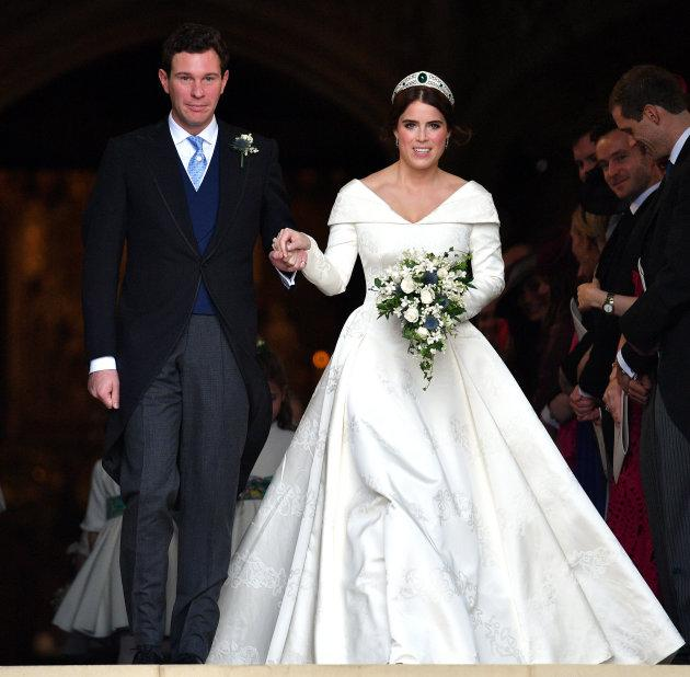 Jack Brooksbank and Princess Eugenie leave St George's Chapel after their wedding ceremony on Oct. 12, 2018.