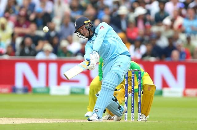 Roy clubs another six during England's World Cup semi-final against Australia at Edgbaston (Nigel French/PA)