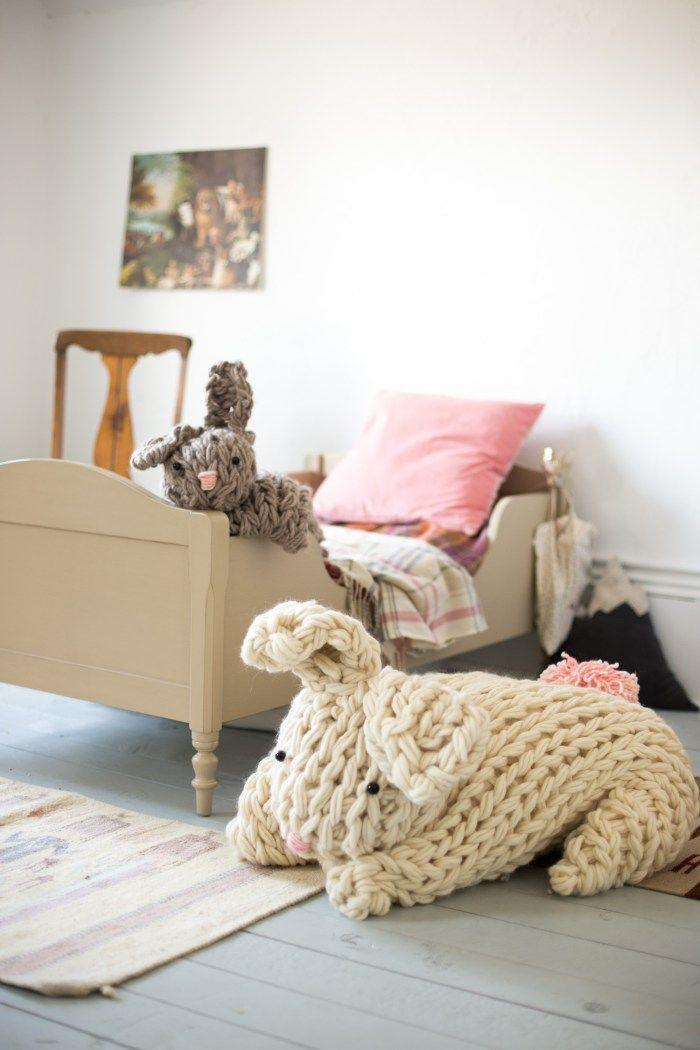 """<p>Follow the easy pattern to make this chunky arm-knit bunny that will delight both kids and adults alike.</p><p><em><a href=""""http://www.flaxandtwine.com/2016/03/giant-knit-bunny/"""" rel=""""nofollow noopener"""" target=""""_blank"""" data-ylk=""""slk:Get the tutorial at Flax & Twine »"""" class=""""link rapid-noclick-resp"""">Get the tutorial at Flax & Twine »</a></em></p>"""