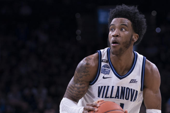 Saddiq Bey #41 of the Villanova Wildcats controls the ball against the Providence Friars at the Wells Fargo Center on February 29, 2020 in Philadelphia, Pennsylvania. The Providence Friars defeated the Villanova Wildcats 58-54. (Photo by Mitchell Leff/Getty Images)