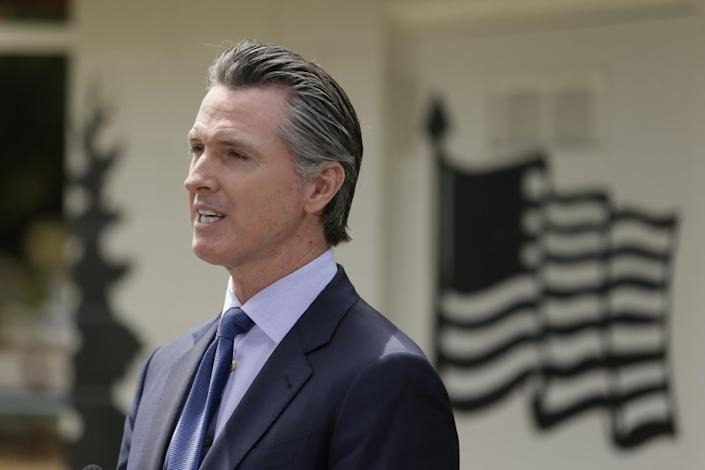 "California Gov. Gavin Newsom speaks at the Veterans Home of California on May 22 in Yountville, Calif. <span class=""copyright"">(Eric Risberg/Associated Press)</span>"