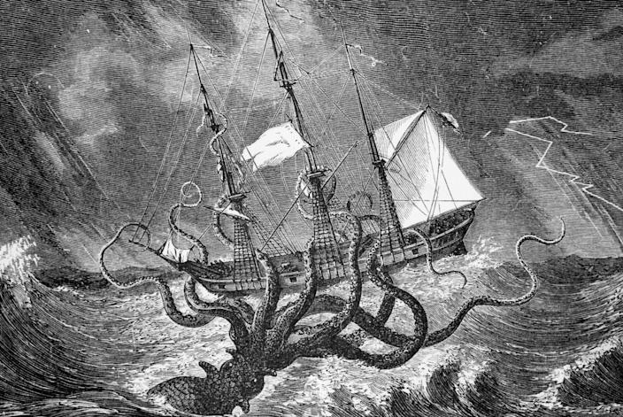 """<p><strong>Origin:</strong> Nordic Folklore</p><p>The mythical Kraken is one of the scariest monsters ever imagined. One of the <a href=""""http://www.scielo.br/pdf/hcsm/v21n3/0104-5970-hcsm-21-3-0971.pdf"""" rel=""""nofollow noopener"""" target=""""_blank"""" data-ylk=""""slk:earliest mentions"""" class=""""link rapid-noclick-resp"""">earliest mentions</a> of the gigantic cephalopod came from Swedish King Sverre of Norway in 1180. Some said the creature was so massive, it could eat maritime crews whole and sink ships in an instant. </p><p>Although descriptions of the beast in folklore vary to some degree, the general consensus is the Kraken was likely <em>Architeuthis dux</em>—more commonly known as the <a href=""""https://www.popularmechanics.com/science/animals/a30547379/giant-squid-genome/"""" rel=""""nofollow noopener"""" target=""""_blank"""" data-ylk=""""slk:giant squid"""" class=""""link rapid-noclick-resp"""">giant squid</a>. We put the Kraken near the top of the list because it's one of the most fearsome creatures in the world—and it's based off of an animal that actually exists.</p>"""