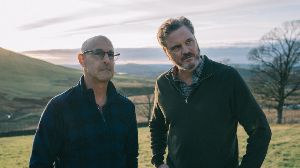 Colin Firth and Stanley Tucci star as a couple facing the imminent spectre of death in this heartfelt romantic drama. It won plaudits on the festival circuit and could be another awards contender. (Credit: Studiocanal)