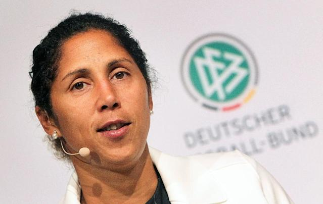 The coach of Germany's women's team, Steffi Jones, has been sacked after a disastrous performance at a high-profile tournament in the United States (AFP Photo/DANIEL ROLAND)