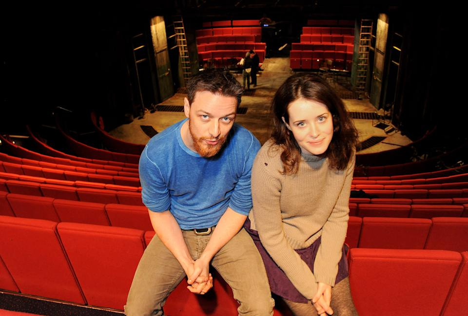 LONDON, ENGLAND - FEBRUARY 21:  (EMBARGOED FOR PUBLICATION IN UK TABLOID NEWSPAPERS UNTIL 48 HOURS AFTER CREATE DATE AND TIME. MANDATORY CREDIT PHOTO BY DAVE M. BENETT/GETTY IMAGES REQUIRED)  Actors James McAvoy (L) and Claire Foy pose for a photocall launching the Trafalgar Studios season with 'Macbeth' on February 21, 2013 in London, England.  (Photo by Dave M. Benett/Getty Images)