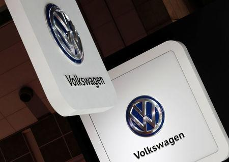 Volkswagen's logos are pictured at the 45th Tokyo Motor Show in Tokyo, Japan