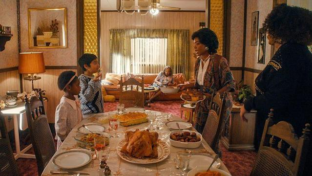 Heaven McCoy as young Denise, Vijay Mahimtura as young Dev, Venida Evans as Denise's Grandma, Angela Bassett as Denise's mom, and Kym Whitley as Denise's aunt in 'Master of None' (Photo: Netflix)