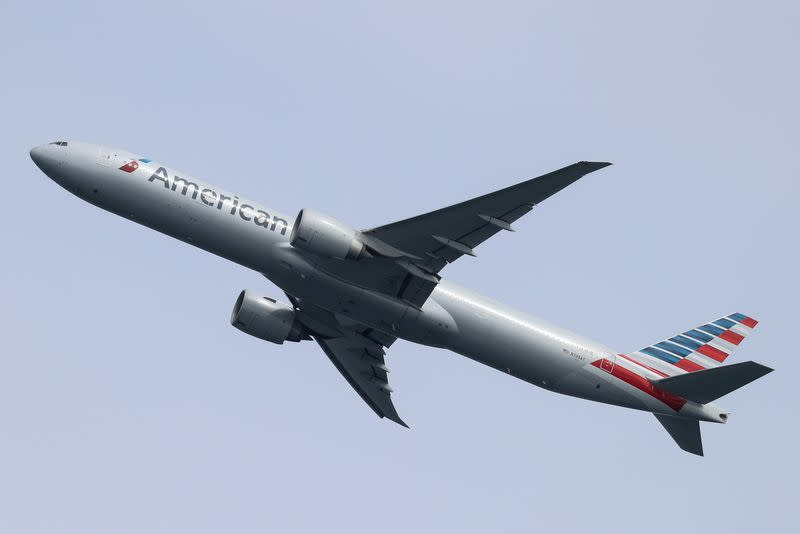 FILE PHOTO: An American Airlines plane takes off from Sydney Airport in Sydney