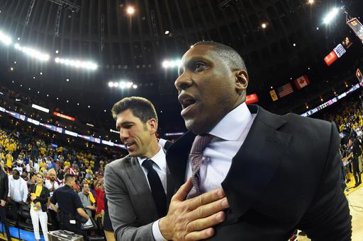 OAKLAND, CA - JUNE 13: President of Basketball Operations Bob Myers of the Golden State Warriors and President of Basketball Operations Masai Ujiri of the Toronto Raptors talk Game Six of the NBA Finals on June 13, 2019 at ORACLE Arena in Oakland, California. (Photo by Andrew D. Bernstein/NBAE via Getty Images)