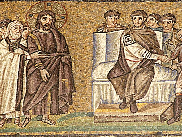 <p>This remarkable mosaic of Pontius Pilate's trial of Jesus is the earliest known image of the event. It is one of a large number of superbly preserved mosaics in the churches of Ravenna, Italy</p> (José Luiz Bernardes Ribeiro/CC BY-SA 4.0)