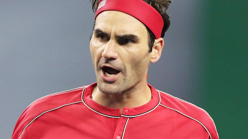 Roger Federer, pictured here celebrating after defeating Albert Ramos-Vinolas at the Shanghai Masters.