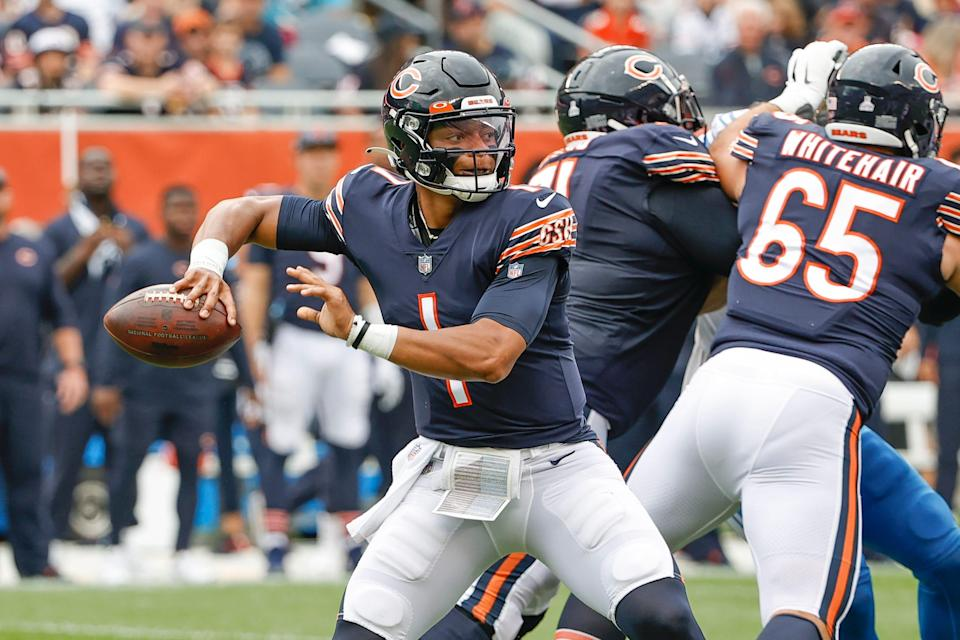 Chicago Bears quarterback Justin Fields looks to pass during the first half against the Detroit Lions.