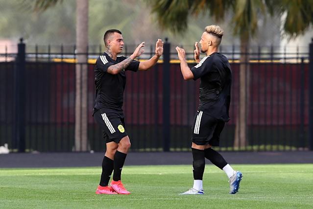 Randall Leal (left), Hany Mukhtar and Nashville SC will open their season on Saturday against regional rivals Atlanta United. (Photo by Cliff Welch/Icon Sportswire via Getty Images)