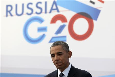 U.S. President Obama speaks to the media during a news conference at the G20 summit in St.Petersburg