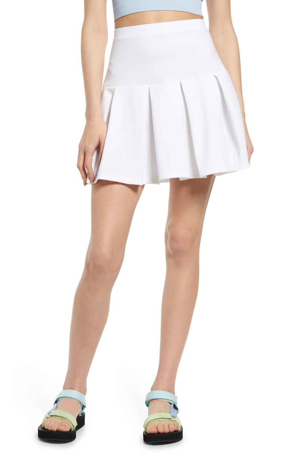 <p>Style this <span>BP. Knit Tennis Skirt</span> ($35) with a crop top and some flat comfy sandals.</p>
