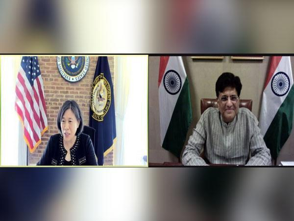 US Trade Representative Katherine C Tai with Minister for Commerce & Industry, Railways, Consumer Affairs and Food & Public distribution Piyush Goyal (Twitter)