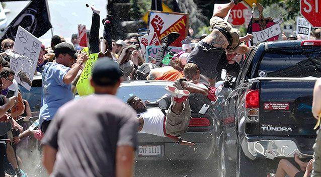 A car ploughed into a crowd of nationalists and counter demonstrators in Virginia. Photo: AP