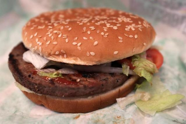 The soy based Impossible Whopper is seen illustrated at a Burger King in New York