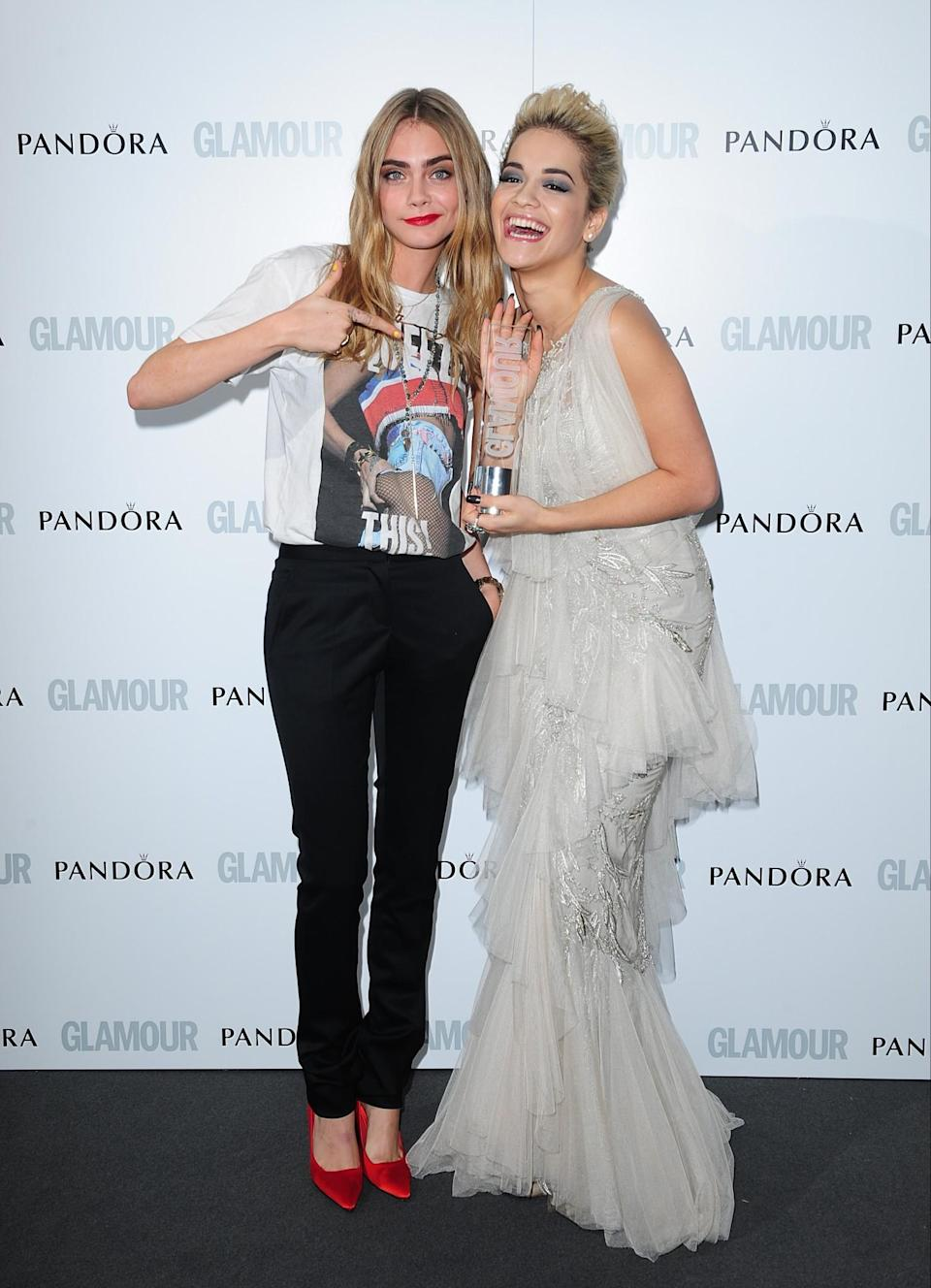 <p>Cara Delevingne and Rita Ora for a time were inseparable, even calling each other 'wifey'. Their BFF union came crashing down after Cara snatched the mic from Rita at a DKNY fashion party, and wailed into it, before clumsily dancing around, stealing Rita's cap and grinding the R.I.P hitmaker from behind. Cringe. [PA] </p>