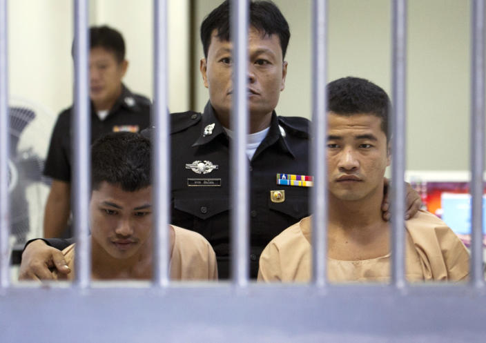Myanmar migrants Wai Phyo, right, and Zaw Lin have been sentenced to death for the murders (AP)