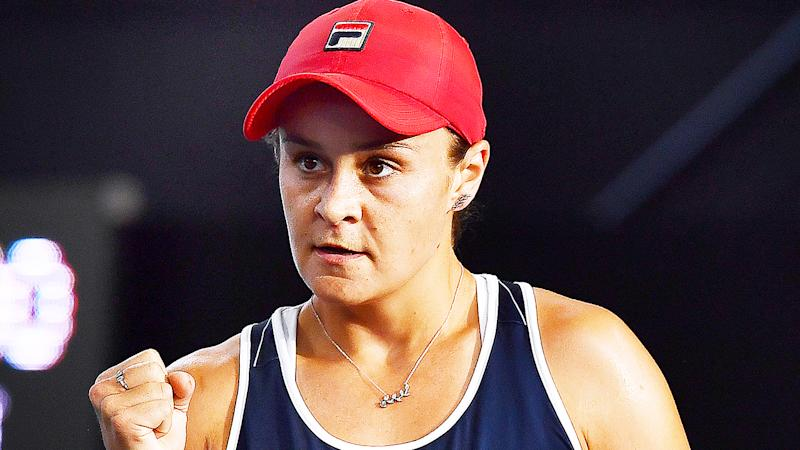 Ash Barty, pictured at the Adelaide International, faces a tough road to the Australian Open crown.
