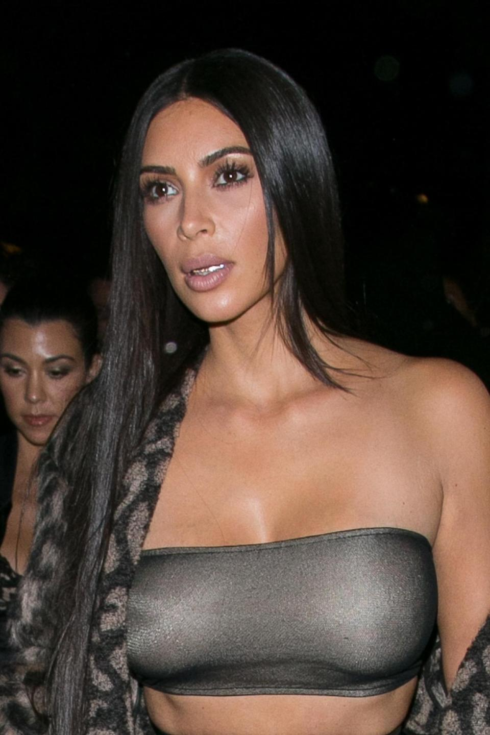 <p>Not only does Kardashian West accessorize her extremities — she also blings out her teeth. Designer Dolly Cohen's grillz start around $200, but Kardashian West's are believed to be worth much more considering they appear to be made of solid gold and diamonds. <i>(Photo: Getty Images)</i><br></p>