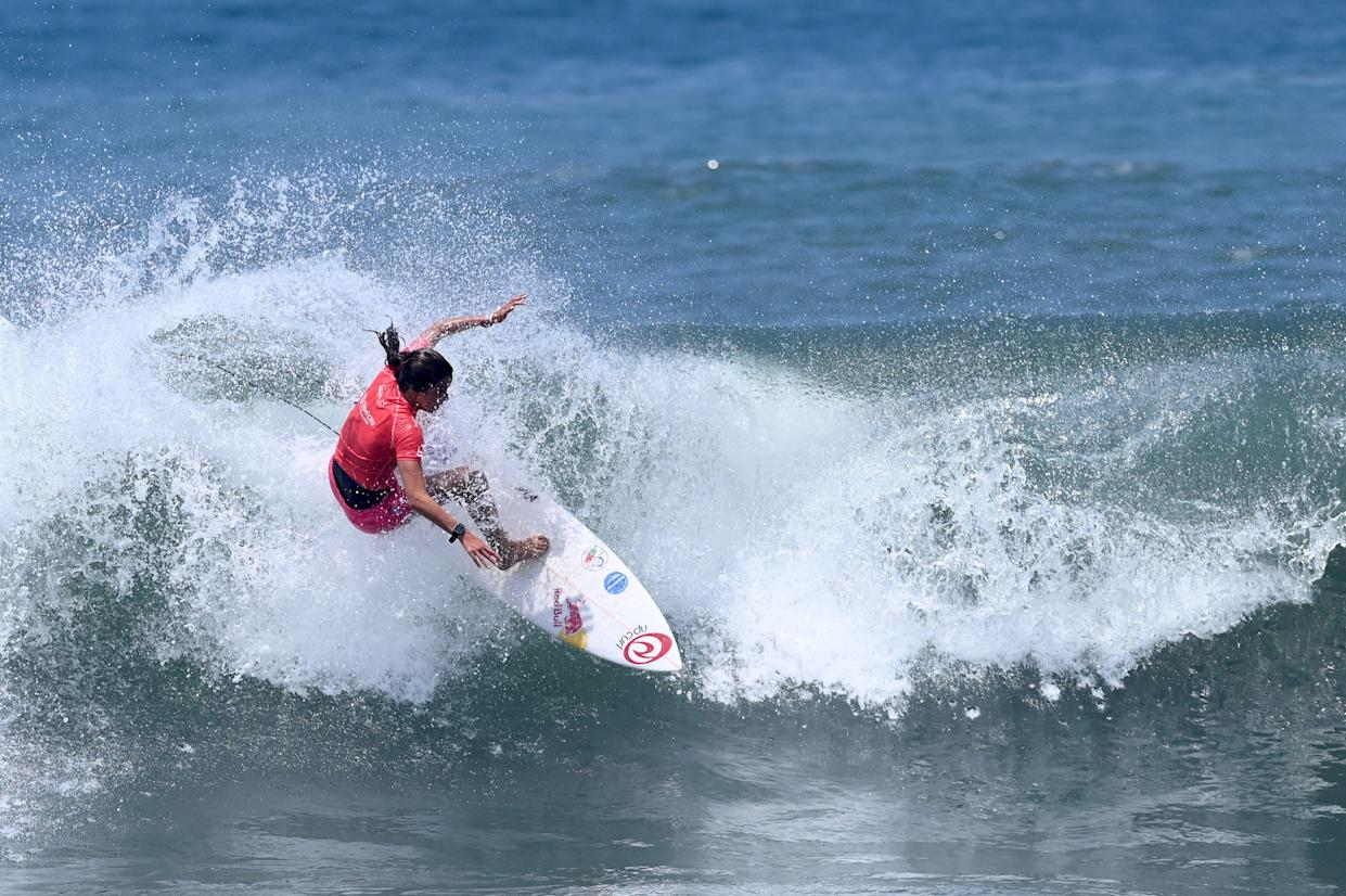 Teresa Bonvalot of Portugal rides a wave in the women's main round during the 2021 Isa World Surfing Games in El Salvador, in El Tunco beach, El Salvador on June 5, 2021. - Teresa Bonvalot qualified this Saturday to the Olympic Games in Tokyo 2021. (Photo by MARVIN RECINOS / AFP) (Photo by MARVIN RECINOS/AFP via Getty Images)