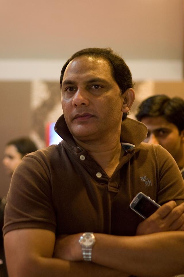 BANGALORE, INDIA - MARCH 23:  Mohammad Azharuddin, Ex-Captain of the Indian Cricket Team, attends the 2010 DLF Indian Premier League T20 group stage match between Royal Challengers Bangalore and Chennai Super Kings played at Chinnaswamy Stadium on March 23, 2010 in Bangalore, India.  (Photo by Ritam Banerjee-IPL 2010/IPL via Getty Images)