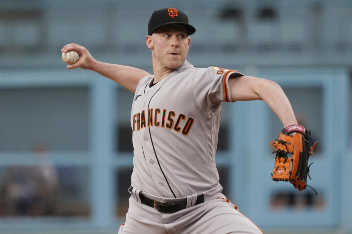 San Francisco Giants starting pitcher Anthony DeSclafani throws to the Los Angeles Dodgers during the first inning of a baseball game Thursday, July 22, 2021, in Los Angeles. (AP Photo/Marcio Jose Sanchez)