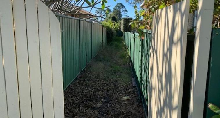 Lot F Bonville Street at Coffs Harbour is pictured. It's only two metres wide.