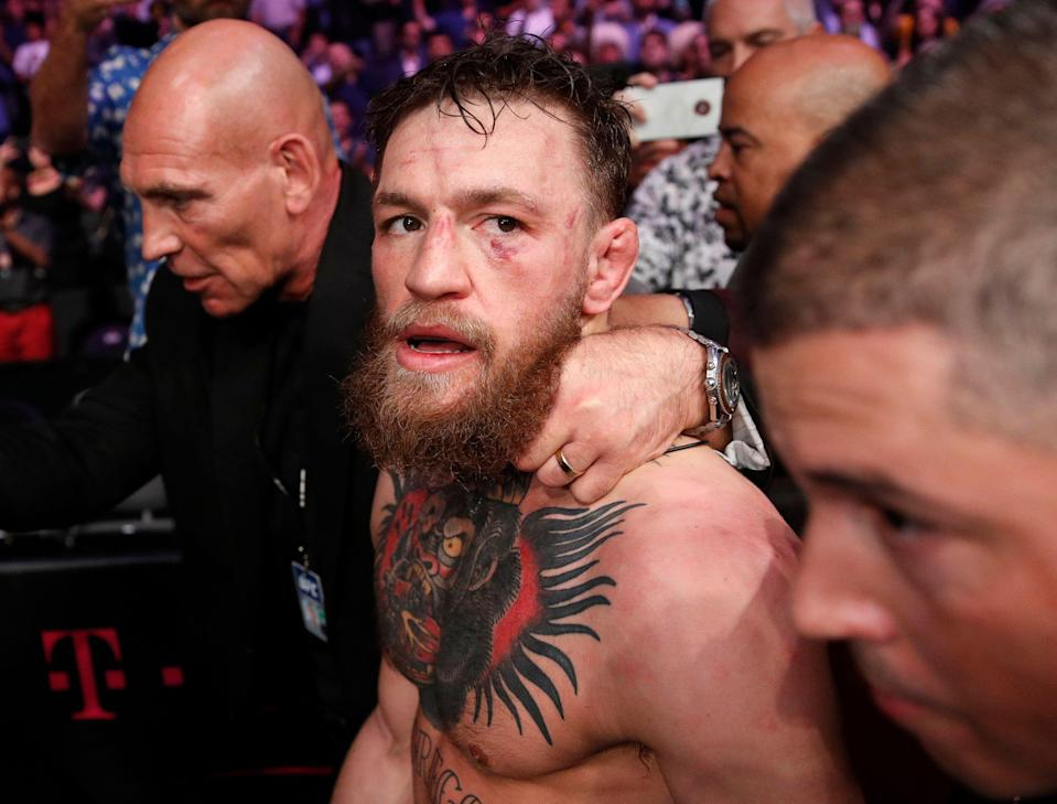 Conor McGregor's latest outburst includes what looks like an Islamophobic jab at Khabib's wife. (AP)