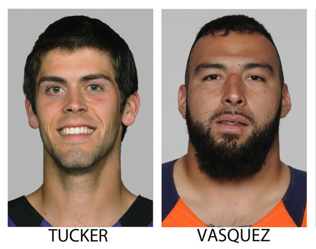 FILE - These 2013 file photos show members of The Associated Press 2013 NFL All-Pro team offense, selected Friday, Jan. 3, 2014. From left are Justin Tucker, Baltimore and Louis Vasquez, Denver. (AP Photo/File)