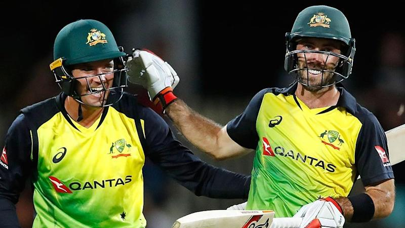 Alex Carey played a key part in Maxwell's ton. Pic: Getty
