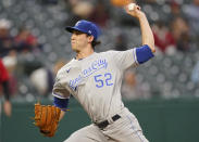Kansas City Royals starting pitcher Daniel Lynch delivers in the first inning of a baseball game against the Cleveland Indians, Tuesday, Sept. 21, 2021, in Cleveland. (AP Photo/Tony Dejak)