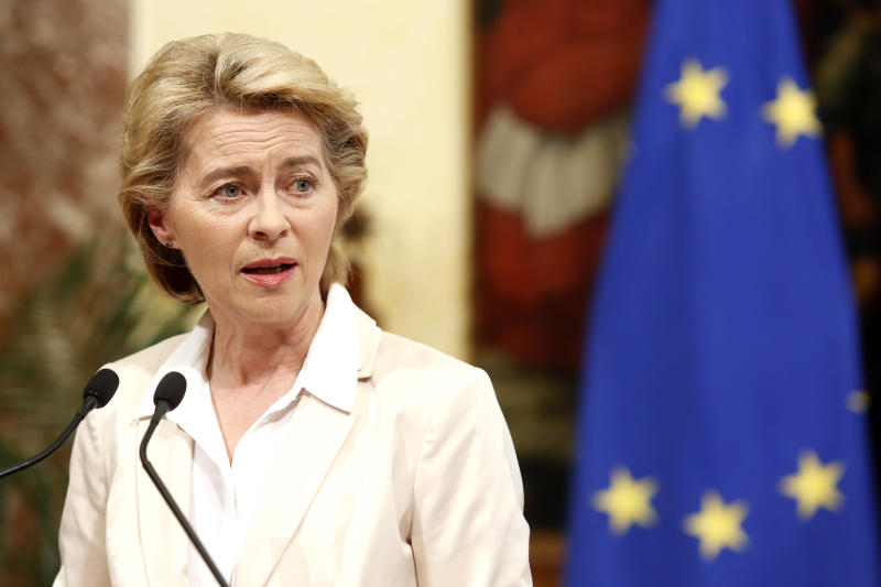 Ursula von der Leyen; newly elected President of the European Commission Rome August 2nd 2019. The Italian Prime Minister meets the newly elected President of the European Commission. (Photo Samantha Zucchi /Insidefoto/Sipa USA)