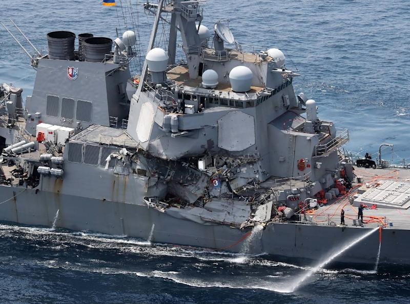Seven sailors died when the guided missile destroyer USS Fitzgerald collided with a Philippine-flagged container ship on June 17 (AFP Photo/STR)