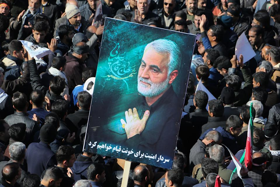<strong>US kills Iranian general Iranian Qasem Soleimani causing war fears: </strong>mourners gather during the final stage of funeral processions for slain top general Qasem Soleimani, in his hometown Kerman. Soleimani was killed outside Baghdad airport on January 3 in a drone strike ordered by US President Donald Trump, ratcheting up tensions with arch-enemy Iran which has vowed 'severe revenge'.