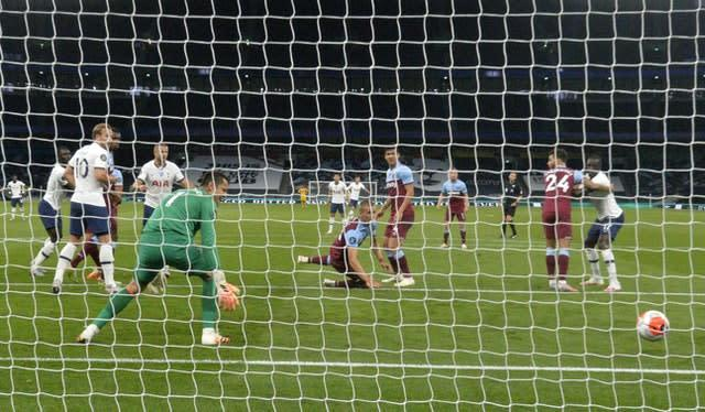 West Ham United's Tomas Soucek scores an own goal to give Spurs the lead (Neil Hall/NMC Pool)