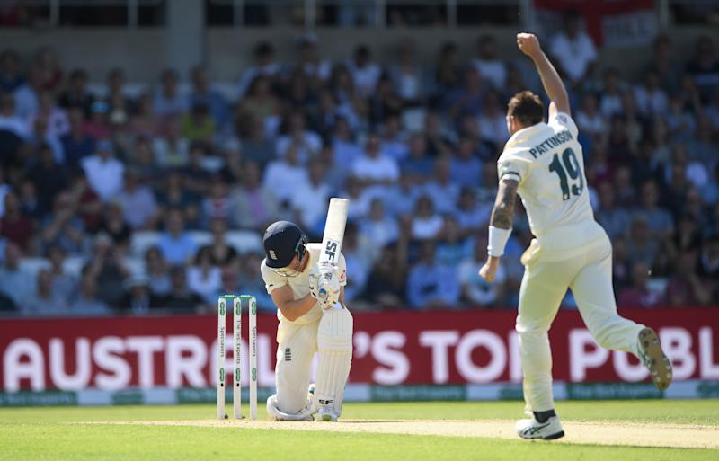 LEEDS, ENGLAND - AUGUST 23: England batsman Joe Denly reacts after being dismissed by James Pattinson during day two of the 3rd Test Match between England and Australia at Headingley on August 23, 2019 in Leeds, England. (Photo by Stu Forster/Getty Images)