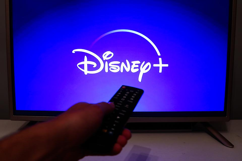 Disney + logo is seen displayed on TV screen in this illustration photo taken in Poland on July 16, 2020. On-Demand streaming services gained popularity and new subscribers during the coronavirus pandemic.  (Photo Illustration by Jakub Porzycki/NurPhoto via Getty Images)
